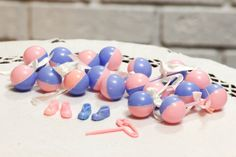 Vintage Baby Shower Cake Toppers Pink and Blue by CabinOn6th