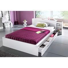 Lit Rangement Sommier Relevable Pin Presto - Lit avec tete de lit rangement 160x200