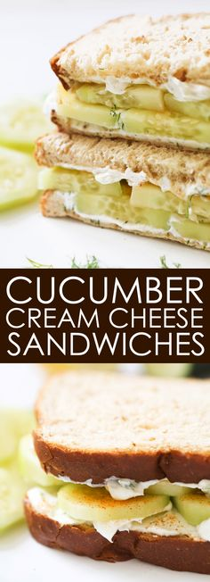 Cucumber Cream Cheese Sandwiches One of my FAVORITE sandwiches. I devour these babies for lunch! Tea Sandwiches, Cucumber Cream Cheese Sandwiches, Cheese Sandwich Recipes, Soup And Sandwich, Finger Sandwiches, Lunch Snacks, Lunch Recipes, Cooking Recipes, Lunches