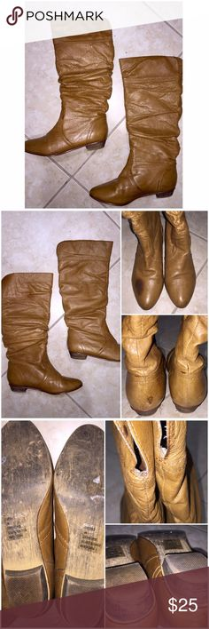 """Steve Madden Leather Boots Steve Madden """"Candence"""" Leather Boots in size 6 come preloved and comfortably worn in condition! These knee high leather boots can be worn to the knees or cuffed down for a different look. There are some rain stains as pictured but I love the distressed look of them! Really comfy and perfectly worn in. My prices fluctuate from time to time. Catch items when the prices are low!❤️ Steve Madden Shoes"""