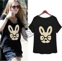 Nuevo 2014 mujeres del verano de lentejuelas perros camiseta de algodón de la señora famosa marca europea Casual lentejuelas Animal Tees y Tops