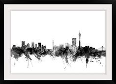 Johannesburg skyline silhouette google search skyline amazon johannesburg south africa skyline photographic print with black frame posters thecheapjerseys Choice Image