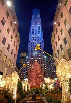 Rockefeller Center in NYC at Christmas.