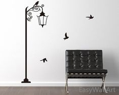 Street Lamp with Birds Wall Decal for Living-room, Bedroom, Office, Study, Children's Room LampLight Wall Stickers#M7