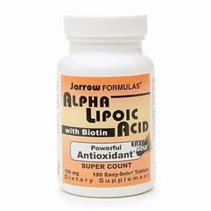 Jarrow Formulas Alpha Lipoic Acid with Biotin 180 tablets by AB. $33.99. Dietary Supplement  Powerful Antioxidant* Super Count  100 mg  Easy-Solv® Tablets  Jarrow Formulas® Alpha Lipoic Acid is a unique lipid and water soluble antioxidant that is a cofactor in energy production, helping to regulate glucose metabolism.* ALA also promotes the synthesis of glutathione.* Biotin is an essential cofactor that is important for energy production and lipid metabolism.* Bioti...