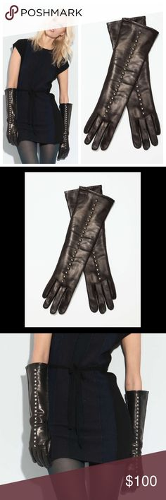 Badass&Sexy URSTADT SWAN Long Leather Stud Gloves About Urstadt Swan With iconic fashion designers Betsey Johnson and Kate Spade as their professional alma maters, it's no surprise that Urstadt Swan founders Lauren Urstadt and Shari Swan have created an eponymous accessories line that's both naughty and nice. Made in NYC, Urstadt Swan's collection speaks to the vamp lurking within every woman: Studded styles feature enough hardware to give jewelry a run for its money.  Leather gloves with…