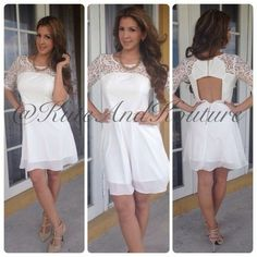 White laced cocktail dress