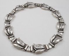 Vintage RARE Georg Jensen Tulip Link Necklace Circa 1940 1945