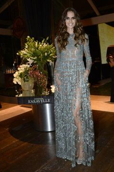 Izabel Goulart in a gorgeous long-sleeve Valentino dress