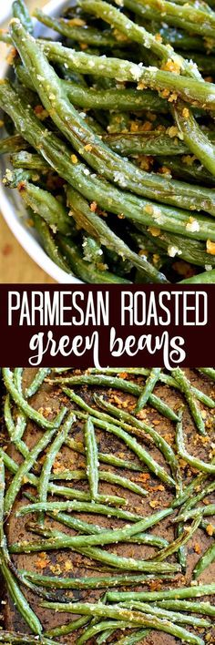 These Parmesan Roasted Green Beans are the most delicious way to enjoy fresh green beans! Perfect for holidays, dinners, or a healthy snack....and best of all, they're made with just 5 ingredients! #AllThingsFood&Drink