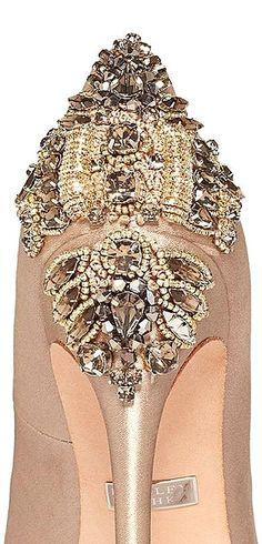 gold wedding shoes by Badgley Mischka 2014
