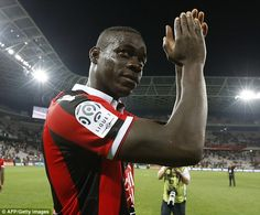 The Italian striker Mario Balotelli applauds the fans after an impressive start to life in the…