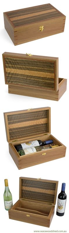 This double wine bottle box is made from Australian Spotted Gum and Queensland Walnut