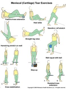 Knee Pain: Physical Therapy Exercises In Pictures – Yoga Club Knee Strengthening Exercises, Scoliosis Exercises, Knee Physical Therapy Exercises, Physical Exercise, Torn Meniscus Exercises, Knee Stretches, Exercise Ball, Exercise Routines, Exercise Motivation