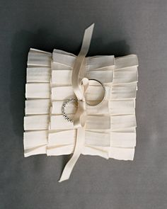 Pleated ribbon from M Trim was turned into this fancy pillow.