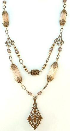 new beading ideas with pendants | Vintaj Brass 3 - hole Nouveau - 16 x 30mm