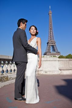 Eiffel Tower and bride . http://oneandonlyparisphotography.com/blog/elopment/eloping-to-paris/