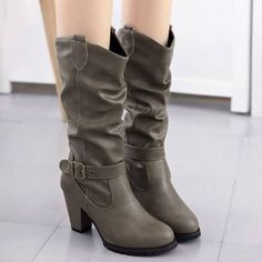 SHARE & Get it FREE   Ruched Buckle Strap Chunky Heel Mid-Calf BootsFor Fashion Lovers only:80,000+ Items·FREE SHIPPING Join Dresslily: Get YOUR $50 NOW!