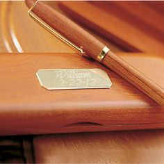 Personalized Rosewood & Brass Pen & Box | Anniversary Gift