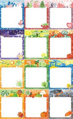 Портфолио для детского садика и школы: Фоны для оформления работ Времена года…