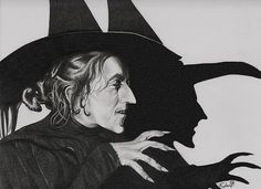 "^<3^ ""(2012) Wicked Witch of the West ""The Wizard of Oz"" (1939) aka – Margaret Hamilton – Graphite Pop Art Illustration No.60"" Drawing by Fred Larucci aka ""The Night Gallery"". #GraphitePencils #Art #Illustration #WickedWitchoftheWest #Oz #Shadow"
