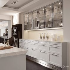 silver glass kitchen cabinets