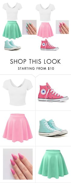 """#jessie"" by foreveryoug ❤ liked on Polyvore featuring LE3NO and Converse"