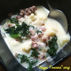 Whole30 version of the famous Zuppa Toscana soup from Olive Garden ... a really simple recipe too: - brown sausage - sauté onions & garlic - add chicken stock, boil - add cauliflower & simmer - add kale & coconut milk, simmer some more