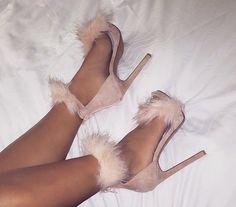 Nude furry heels