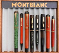 Selection of vintage Montblanc fountain pens and pencils found in Denmark. Vintage Pens, Pen And Paper, Writing Instruments, Penne, Ballpoint Pen, Fountain Pens, Denmark, Stationery, Ads