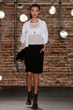 Kenneth Cole Spring 2014 // Learn how to sew with sheer material: http://www.universityoffashion.com/lessons/sheers-seam-finishes-compilation/