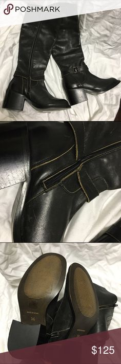 New! Jeffrey Campbell black tall leather boots 36 New without the original box. Side zipper entry. Low chunky heel. All leather. Made in Portugal. Light scratches at the front toe. Size 36 Jeffrey Campbell Shoes