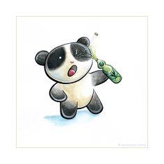 Panda Drink Tiem by snowmask on DeviantArt Bride And Groom Cartoon, Bear Drink, Bristol Board, Watercolor Pencils, Panda Bear, Deviantart, Drinks, Scarlet, Cute