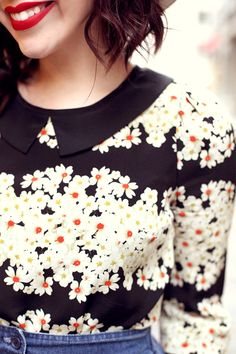 Daisy Print Peter Pan Collar