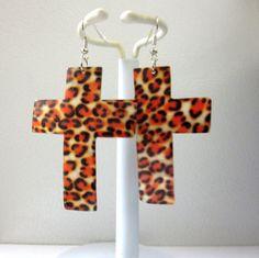 Cross Earrings Shell Leopard Print Long Dangles by sweetie2sweetie, $9.99
