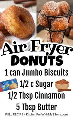 Air Fryer Recipes Donuts, Air Fryer Recipes Dessert, Air Fryer Oven Recipes, Air Frier Recipes, Donut Recipes, Cooking Recipes, Dessert Salads, Cake Recipes, Delicious Donuts