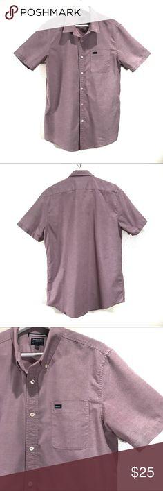 "RVCA Men's Short Sleeve Button Up Shirt RVCA Men's Short Sleeve Button Up Shirt Slim Fit Front pocket Cotton/Polyester  30"" Length RVCA Shirts Casual Button Down Shirts"