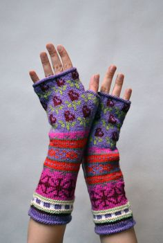 Long Colorful Fingerless Gloves Hand-knit Fingerless by lyralyra
