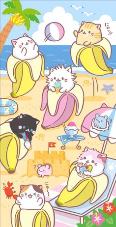 Mundo kawaii, gatos y bananas
