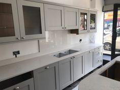 Noble Carrera, Aspen De Lusso Combination- ChorleyWood, Herts - Rock and Co Granite Ltd Kitchen Showroom, Splashback, Traditional Kitchen, Aspen, Carrera, Granite, Kitchen Cabinets, Home Decor, Primitive Kitchen