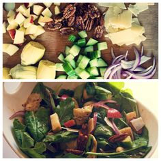 Fuji apples, artichoke hearts, cucumber, red onion, and shaved Parmesan. Pan-fry the artichokes with a little bit if olive oil, salt and pepper.  Dressing Balsamic Vinaigrette
