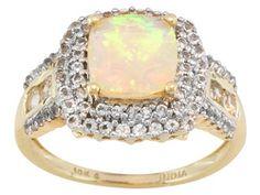 1.05ct Cushion Ethiopian Opal With .88ctw Round White Topaz 10k Yg Ring Erv $406.00