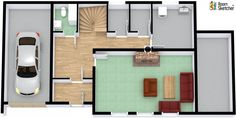 YOU DECIDE -- Is a one-car garage enough? :)  Sofas by Ashley Furniture HomeStore in RoomSketcher: http://www.roomsketcher.com/features/overview/  3D floor plan designed by Eindoms Visualisering in RoomSketcher Business Edition