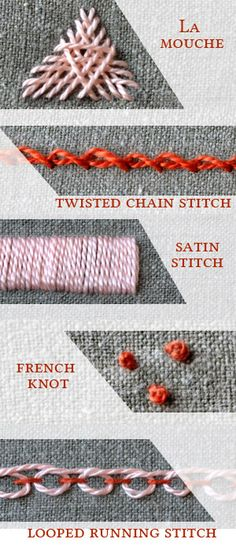 Pumora's embroidery stitch lexicon: term 2 - la mouche, twisted chain stitch, satin stitch, french stitch and looped running stitch tutorials