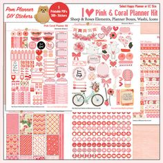 Printable Planner Stickers Kit in Pink & by DigiScrapDelights
