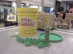 "HBA's Canstruction 2013 sculpture. ""Dohn't Play with Your Food"" www.hbablogs.com"