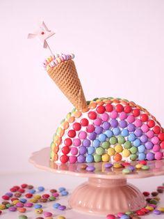 kuchen-mit-smarties-regenbogen