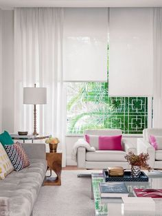 Environments with modern curtains - Decoration, Architecture, Construction, Furniture and decoration, Home Deco Modern Curtains, Curtains With Blinds, Sheer Curtains, Living Room Modern, Home Living Room, Cuisines Design, Home Furniture, House Design, Interior Design