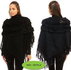 poncho negru model deosebit cu angora si mohair-este la reducere. Winter, Fashion, Templates, Winter Time, Moda, Fashion Styles, Fasion