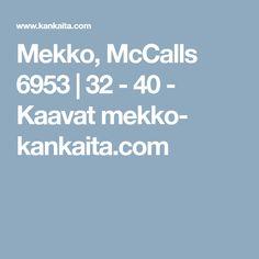 Mekko, McCalls 6953 | 32 - 40 - Kaavat mekko- kankaita.com